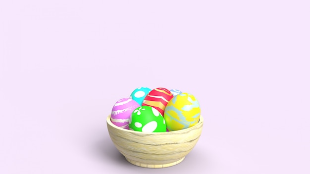 Ostereier in der holzschüssel 3d-wiedergabe für feiertagsinhalt.