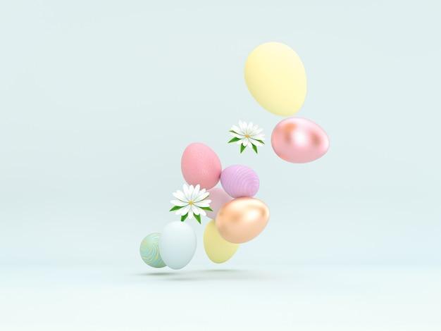 Ostereierdekorationshintergrund mit frühlingsblumen3d-darstellung