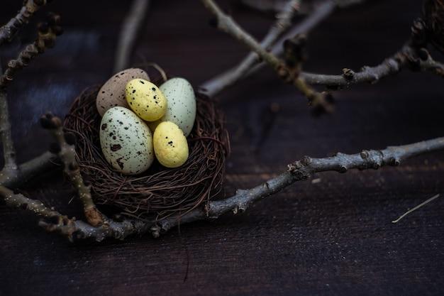 Osterkartenkonzept mit nest mit eiern auf holz