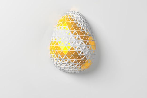 Osterkonzept. ein einzelnes weißgoldenes ei mit geometrischen ursprünglichen sich ändernden mustern auf der oberfläche auf einem weißen hintergrund. 3d-illustration