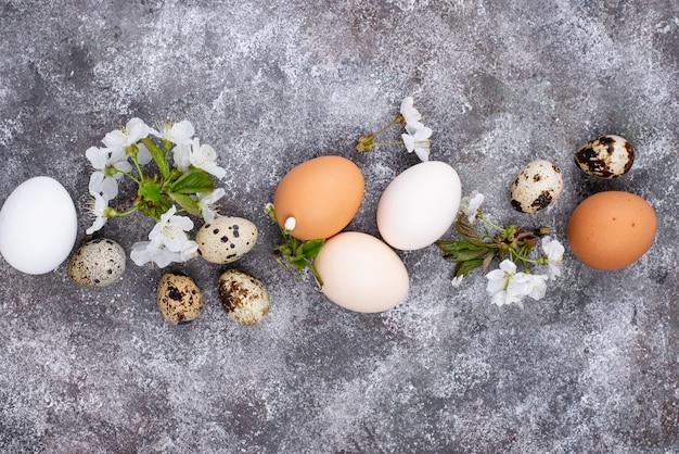 Osterkonzept. hühner- und wachteleier.
