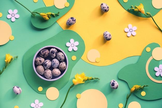 Ostern, grafisches buntes design in grün und gelb.