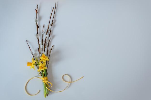 Ostern hintergrund frühlingshintergrund mit gelben narzissen und weidenniederlassungen