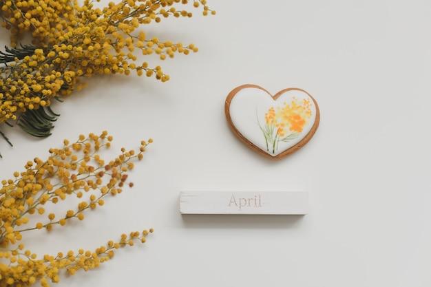 Ostern lebkuchenplätzchen und mimosenblume auf weißem hintergrund. frühling, frühling, april, frohe ostern konzept. draufsicht