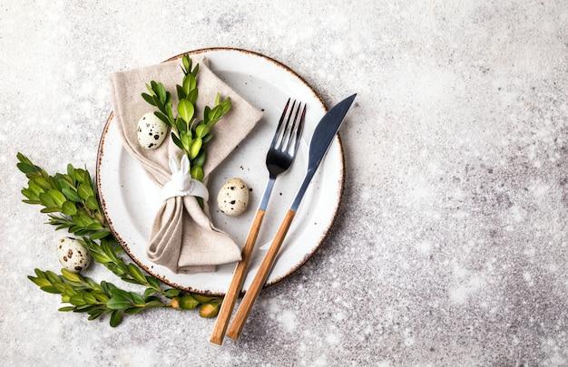 Ostern tabelleneinstellung. feiertagsdekoration.
