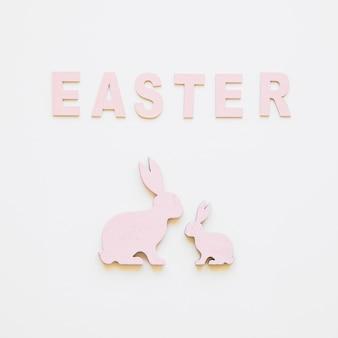 Ostern wort und süße häschen