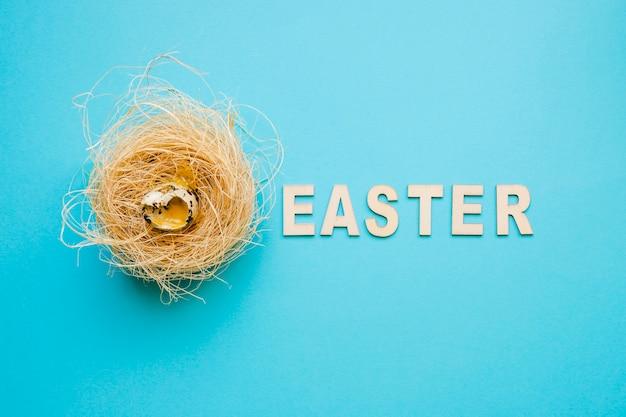 Ostern-wort und wachtelei im nest