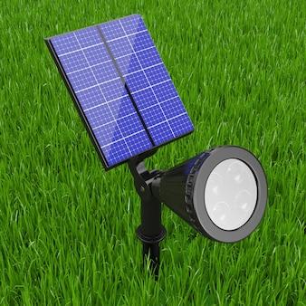 Outdoor-garten-led-strahler mit sonnenkollektor auf grünem grashintergrund. 3d-rendering