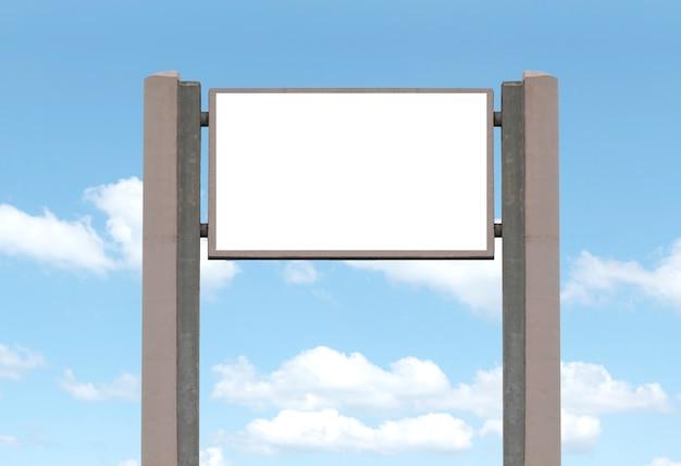 Outdoor-reklametafel auf blauem himmelshintergrund mit weißem hintergrund mock-up-beschneidungspfad