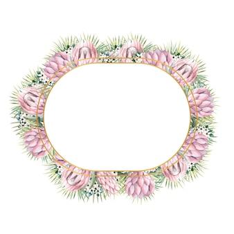 Ovaler goldrahmen mit protea-blüten, tropischen blättern, palmblättern, bouvardia-blüten
