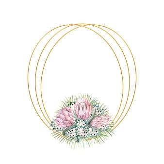 Ovaler goldrahmen mit proteablüten, tropischen blättern, palmblättern, bouvardienblüten