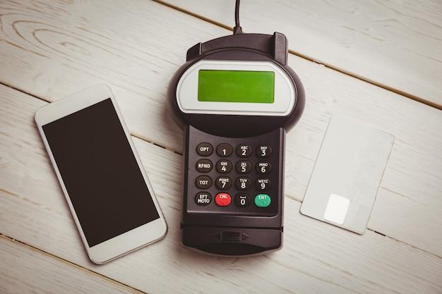 Overhead von pin-terminal und smartphone
