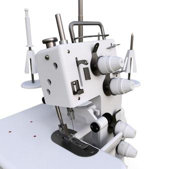 Overlock auf einem weißen hintergrund. ausrüstung für die nähproduktion. kleidung und textilien nähen. abbildung 3d.