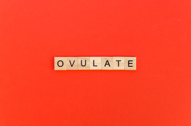 Ovulieren sie wort mit scrabblebuchstaben auf rotem hintergrund