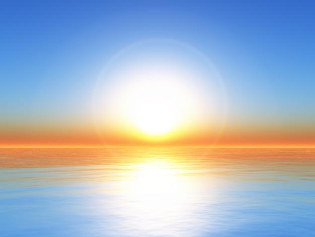 Ozeanlandschaft des sonnenuntergangs 3d