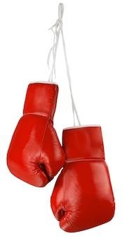 Paar blaue boxhandschuhe isoliert auf weiss