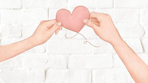 Paar, das herzballon für valentinstagillustration hält