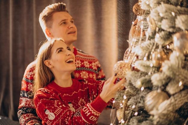 Paar, das weihnachtsbaum zusammen verziert