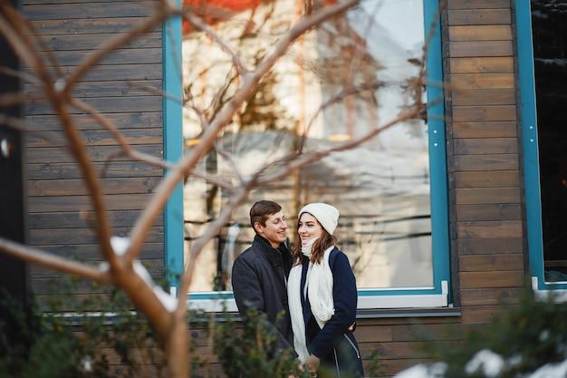 Paar in einem winter