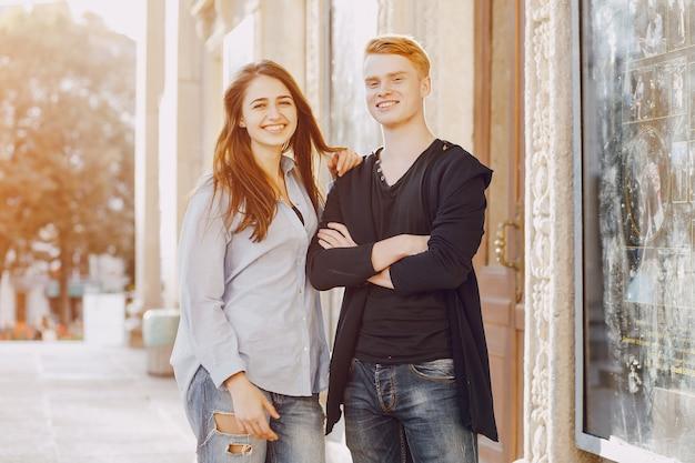Paar in einer stadt