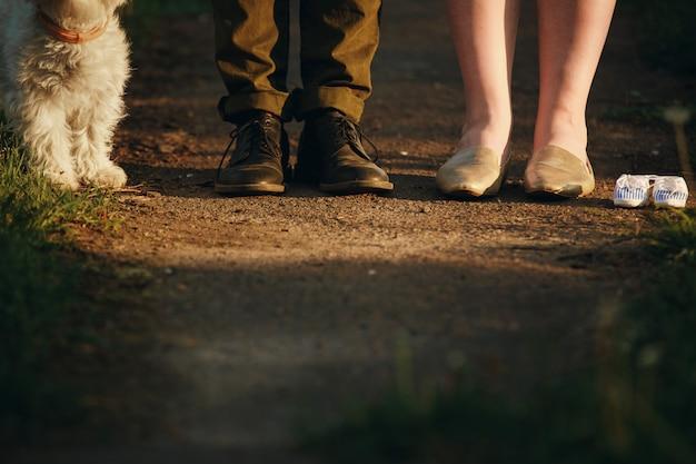 Paar ist auf einem spaziergang im park mit ihrem hund