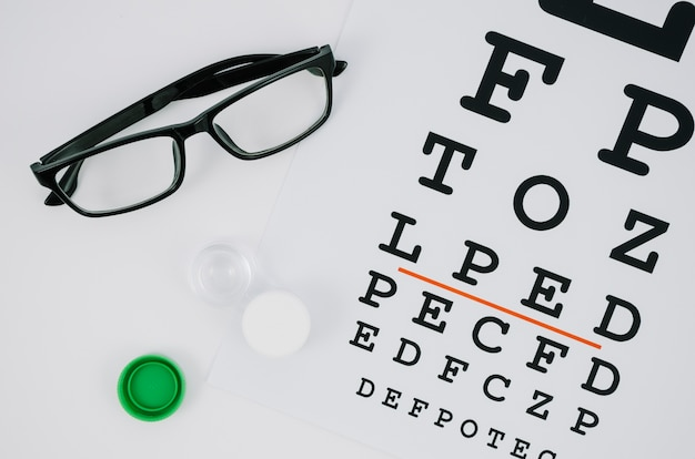 Paar kontaktlinsen und eine auswahl von buchstaben