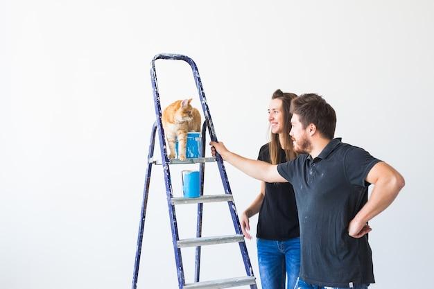 Paar mit katze, die eine renovierung in der neuen wohnung tut.