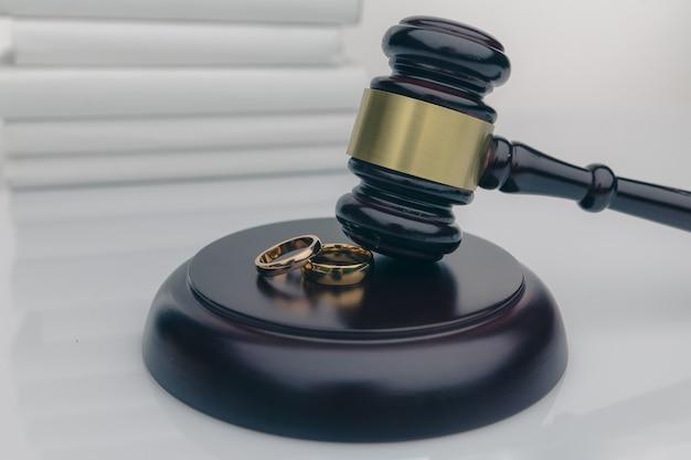 Paar mit scheidungsvertrag und ring auf dem schreibtisch.