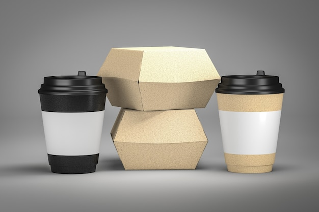 Paar nehmen kaffeetasse und snack-burger-box 3d rendern weg