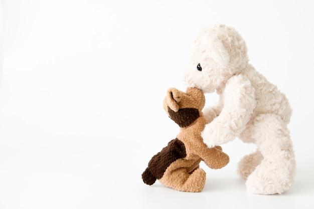 Paar puppe in beziehung, puppy und teddybär ist beste freunde