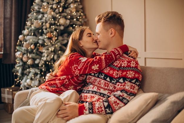 Paar sitzt auf kutsche zusammen am weihnachtsbaum