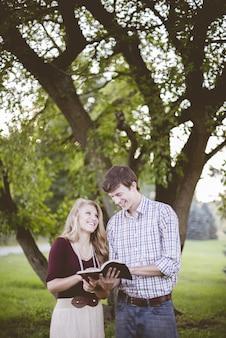 Paar unter baum, lesend