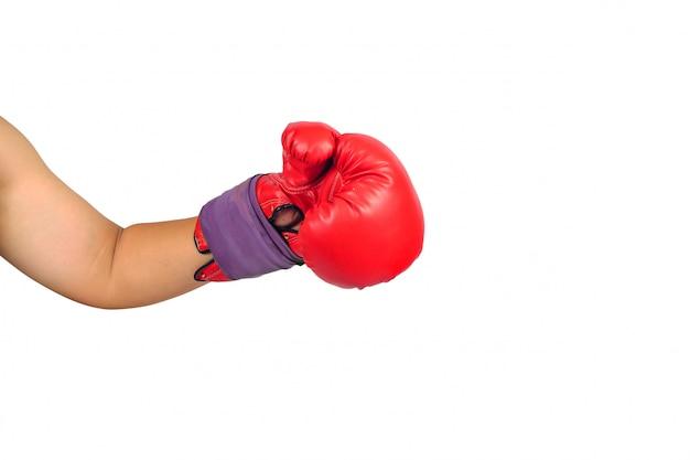 Paare der roten ledernen boxhandschuhe oder des handschuhs getrennt