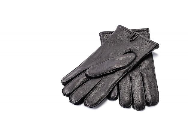 Paare der schwarzen lederhandschuhe der männer getrennt
