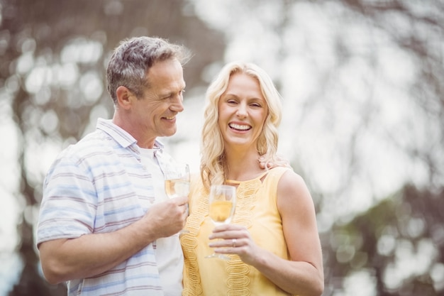 Paare, die draußen mit champagner rösten
