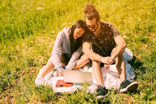 Paare, die in der wiese sitzen und laptop untersuchen