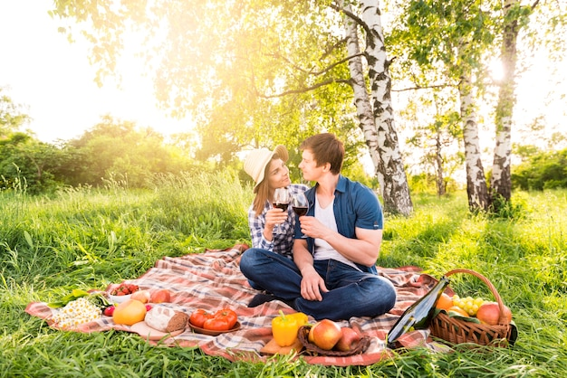 Paare in der liebe, die auf wiese picknickt