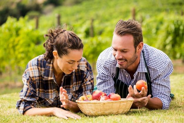 Paare mit apfelkorb am weinberg