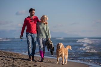 Paare mit dem Hund, der Spaß auf Strand am autmun Tag hat