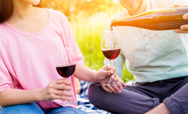 Paare von den liebhabern, die rotwein auf picknick trinken