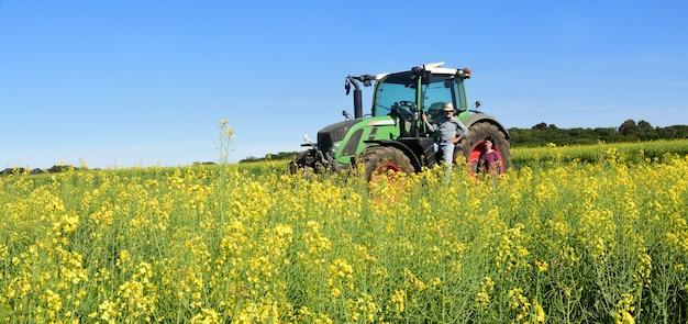 Paare von landwirten auf einem canolagebiet mit einem traktor