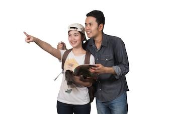 Paare von Touristen am Teebauernhof in Thailand