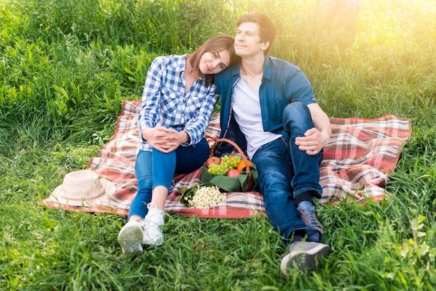 Paare, welche die schöne zeit am picknick auf wiese haben