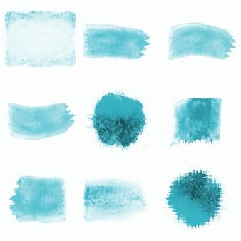 Packung mit aquarell blauen flecken