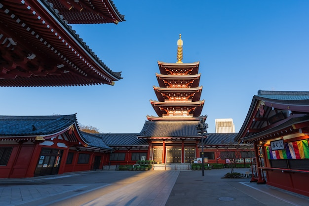 Pagode am sensoji tempel, tokyo, japan