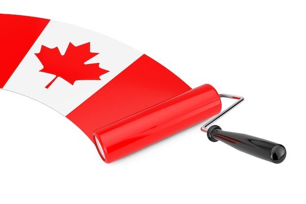 Paint roller brush mit kanada-flagge auf weißem hintergrund. 3d-rendering