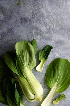 Pak-choi-pflanze und blätter auf grauem hintergrund