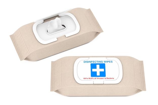 Paket mit feuchten antibakteriellen desinfektionstüchern auf weißem hintergrund. 3d-rendering