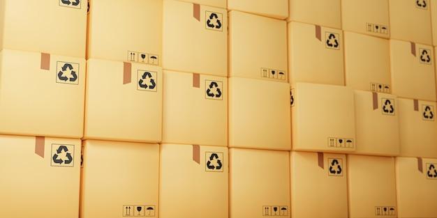 Paket- und paketzustellungskonzept. stapel pappkartons, 3d-render.