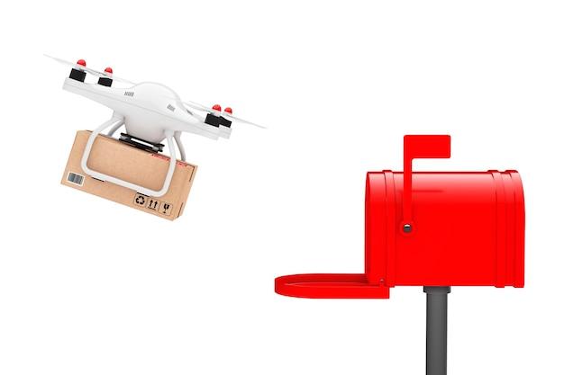Paketversand-konzept. quadrocopter-drohnen, die ein paket im postfach auf weißem hintergrund liefern. 3d-rendering
